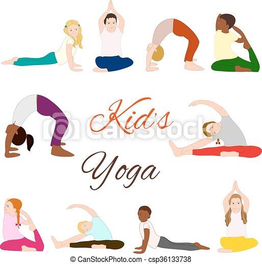 Yoga Kids Set Gymnastics For Children And Healthy Lifestyle Vector Illustration