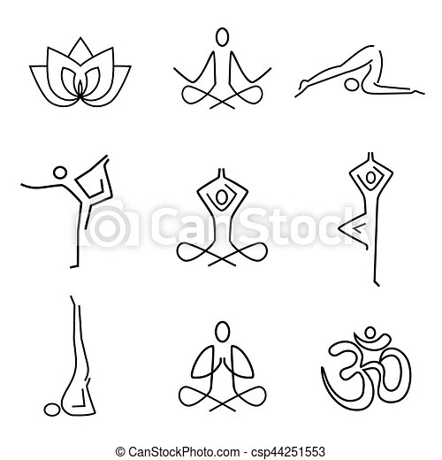 Yoga line art icons csp44251553