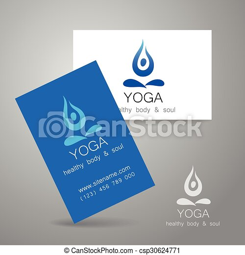 Yoga logo card yoga logo sign design and business cards yoga logo card csp30624771 reheart Gallery