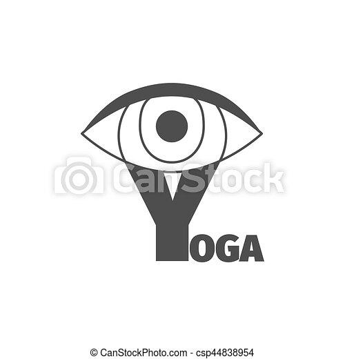 Yoga logo design template with eye and big letter y maxwellsz