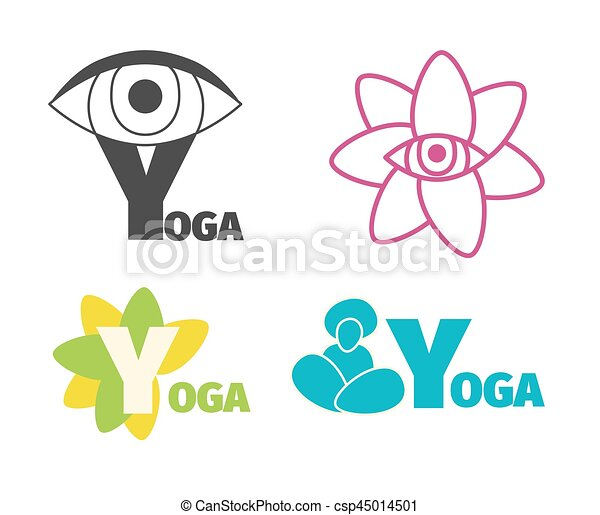Yoga Logo Design Template With Eye Man Silhouette And Flower