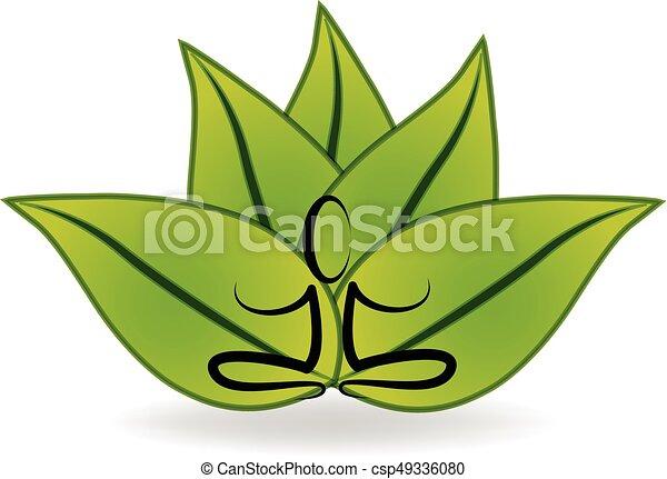 Yoga lotus logo - csp49336080