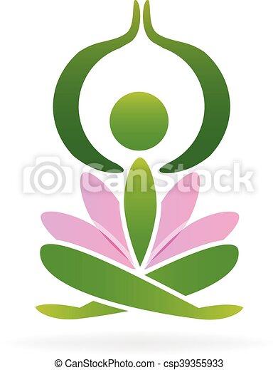 Yoga lotus man logo - csp39355933