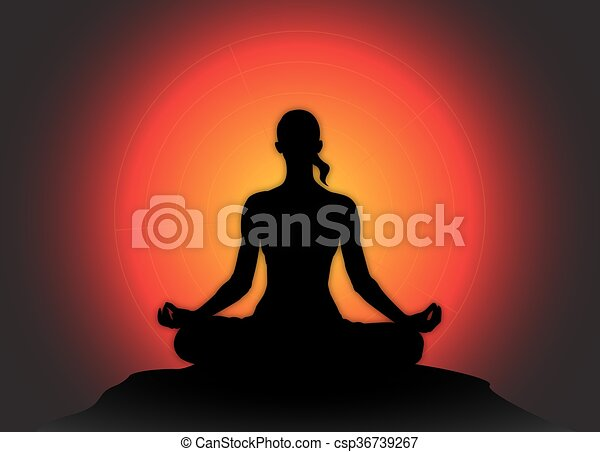 Yoga Lotus Meditation Pose Sun Background A Yoga Woman Silhouette Performing A Lotus Pose On A Dark Colourful Background