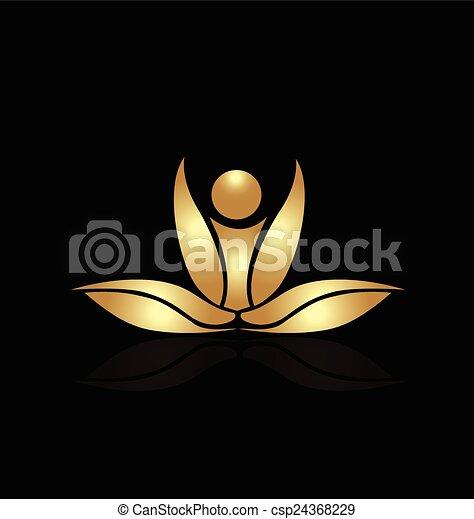 Yoga lotus pink figure logo - csp24368229