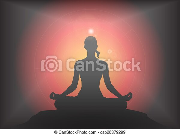 Yoga Lotus Pose Glare Background A Yoga Woman Silhouette Performing Lotus Pose On A Dark Colourful Background With A Glare