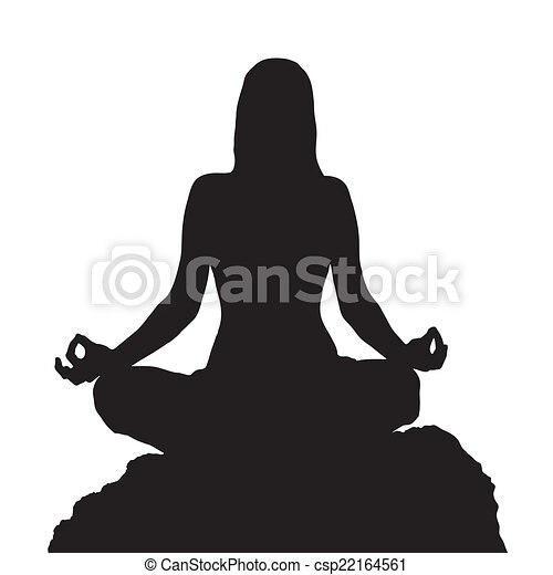 Yoga Lotus Position Silhouette On Rock