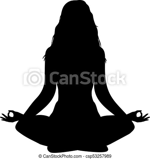 Yoga Lotus Position Silhouette Vector Shape Long Hairs