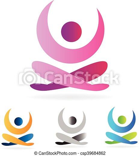 Yoga man logo - csp39684862