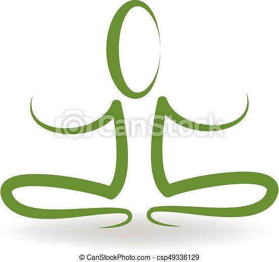 Yoga man logo - csp49336129