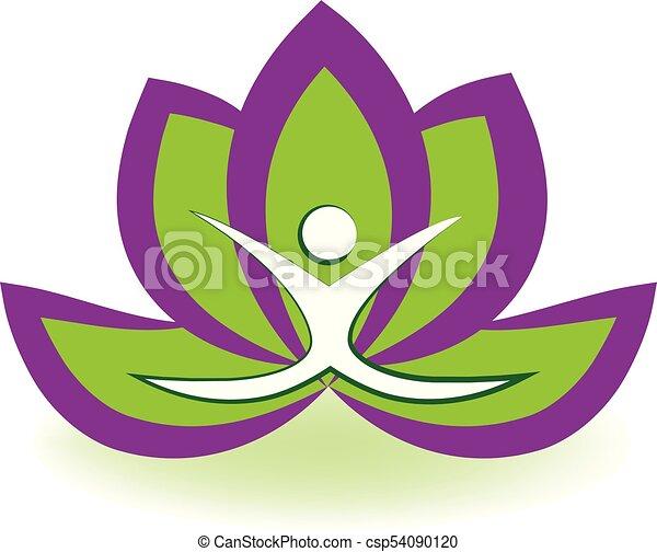 Yoga man lotus logo - csp54090120