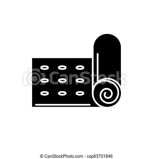 Yoga Mat Black Icon Vector Sign On Isolated Background Yoga Mat Concept Symbol Illustration Yoga Mat Black Icon Concept
