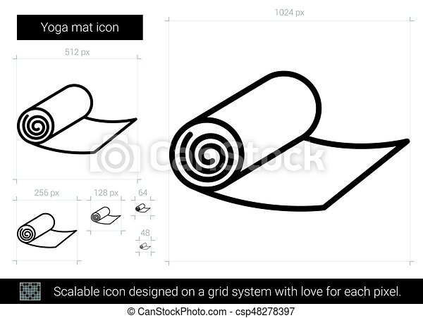 Yoga Mat Line Icon Yoga Mat Vector Line Icon Isolated On White Background Yoga Mat Line Icon For Infographic Website Or
