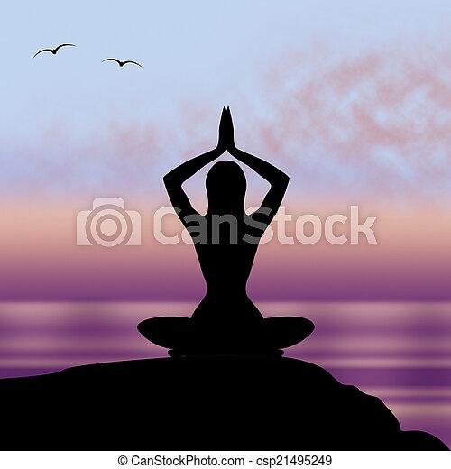 yoga, medios, tacto, postura, armonía, postura - csp21495249