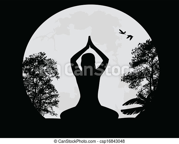 Yoga Meditation In Lotus Pose By Woman Silhouette Background Vector