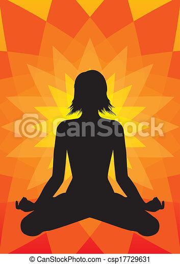 Yoga Meditation Illustration Girl Silhouette In Padmasana Lotus