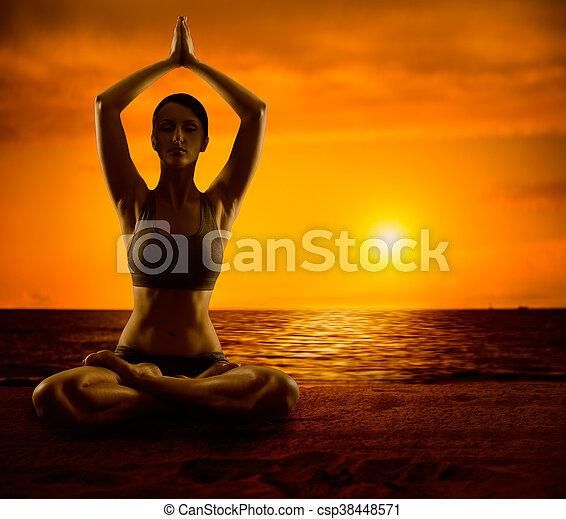 yoga meditation lotus pose woman meditating outdoor girl