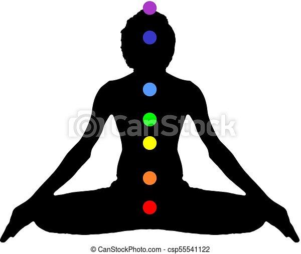 Yoga Meditation Pose Black On White Background With Energy Chakra Logo Plain Clear Vector