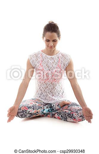 yoga meditation yoga girl on white background meditating in lotus