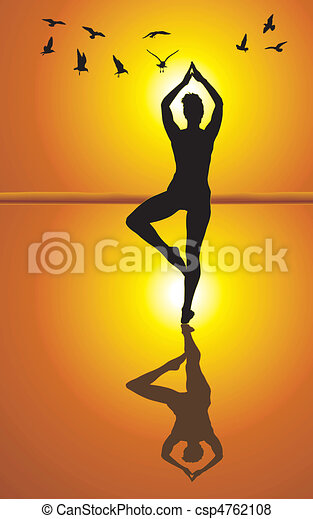 Yoga on the beach - csp4762108