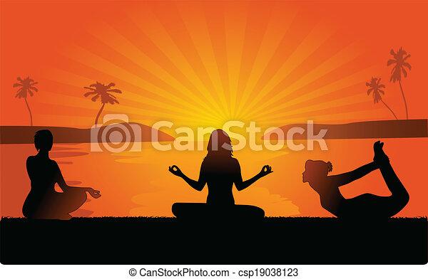 yoga on the beach - csp19038123