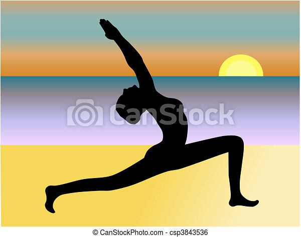 Yoga on the Beach Vector - csp3843536