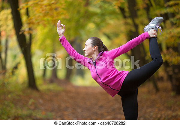 yoga outdoors lord of the dance pose sporty beautiful