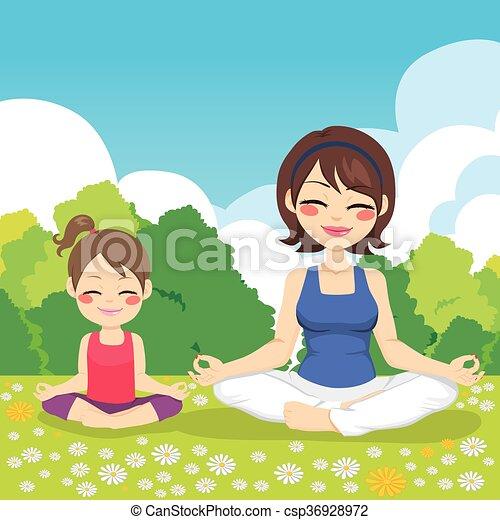 yoga, parkeer dochter, moeder - csp36928972