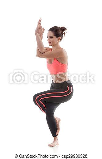 yoga pose garudasana sporty yoga girl on white background