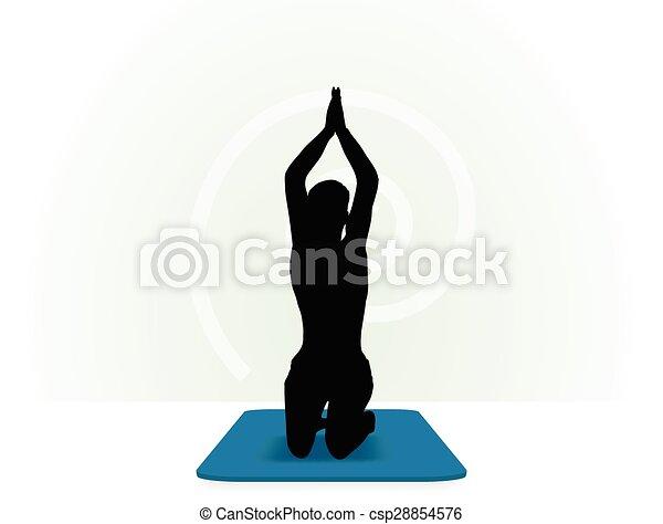 Yoga pose isolated on white background - csp28854576