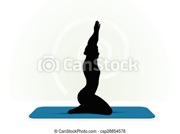 Yoga pose isolated on white background - csp28854578