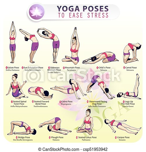 Yoga Pose To Ease Stress Vector Illustration Of The Sequence Of Performing 15 Poses Of Yoga For Stress Relief Female