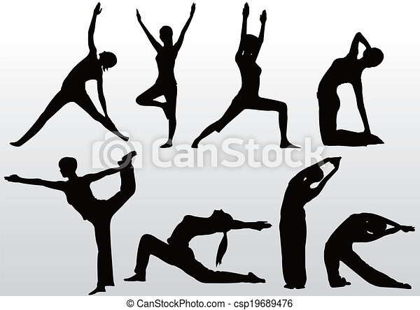 yoga pose women silhouette - csp19689476