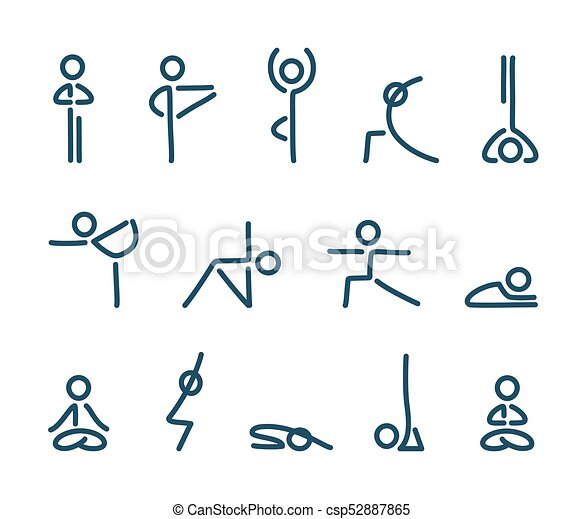 Yoga Poses Icons Simple Stylized Icon Set Stick Figures