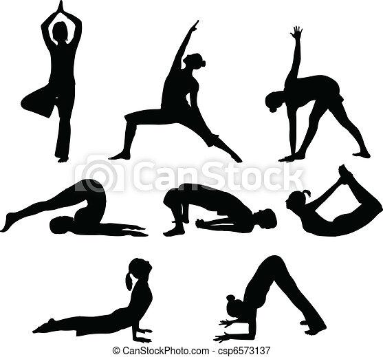 Yoga Poses Vector Illustration