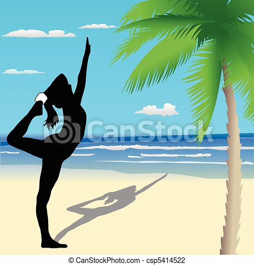 Yoga poses on the beach - csp5414522