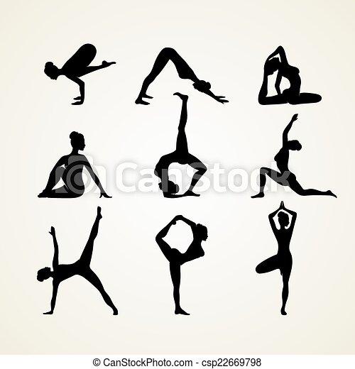 Yoga poses silhouette - csp22669798