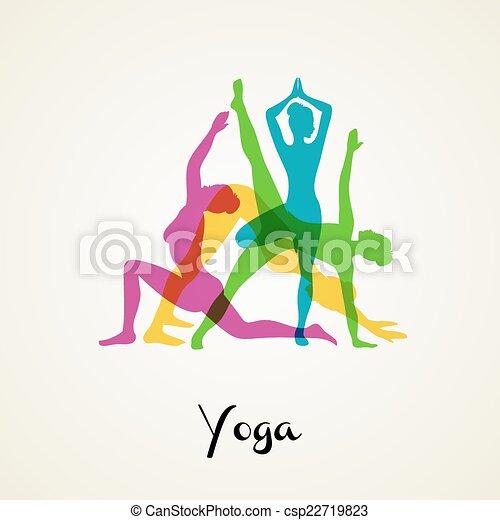 yoga, poses, silhouette - csp22719823