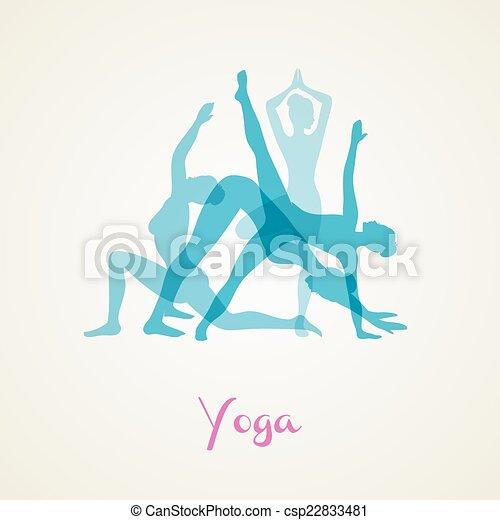 Yoga poses silhouette set - csp22833481