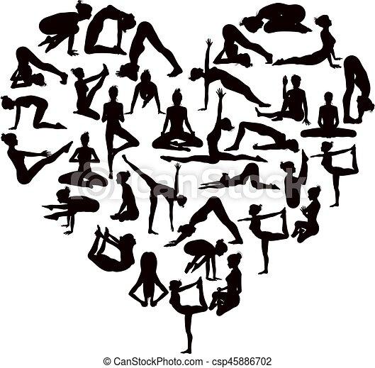 Yoga Poses Silhouettes Heart - csp45886702