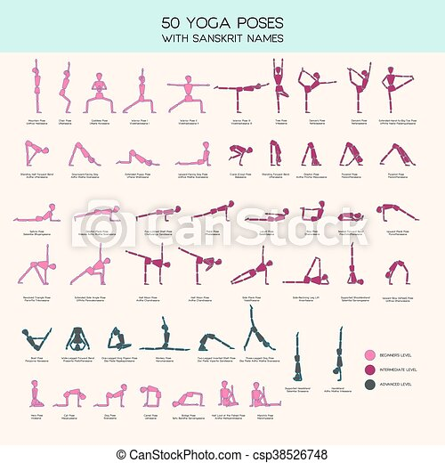 yoga poses stick figure set vector set of stick figures