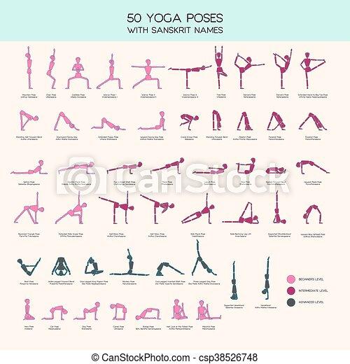 Yoga Poses Stick Figure Set