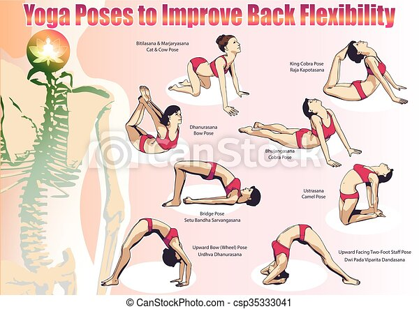 Yoga poses to improve back flexibility  A set of yoga
