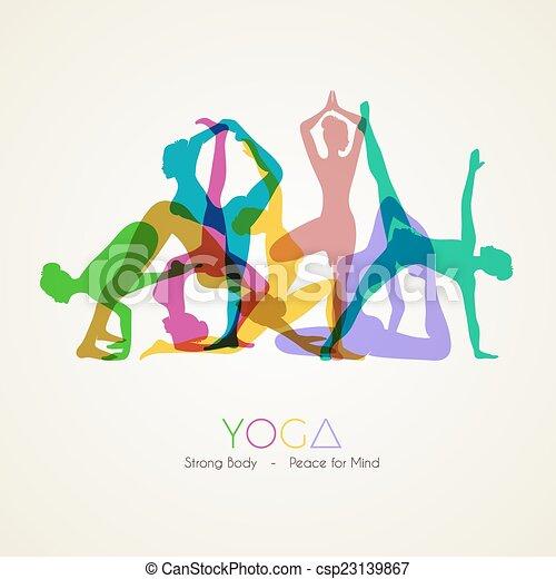 Yoga poses woman's silhouette - csp23139867