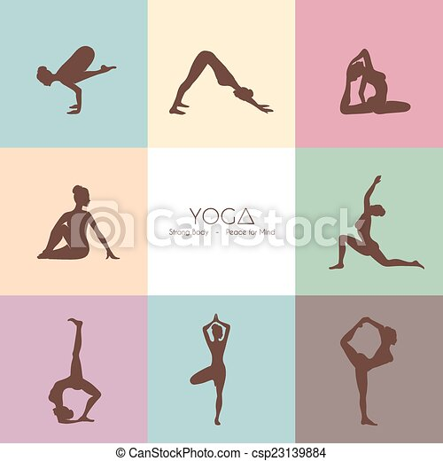 Yoga poses woman's silhouette - csp23139884