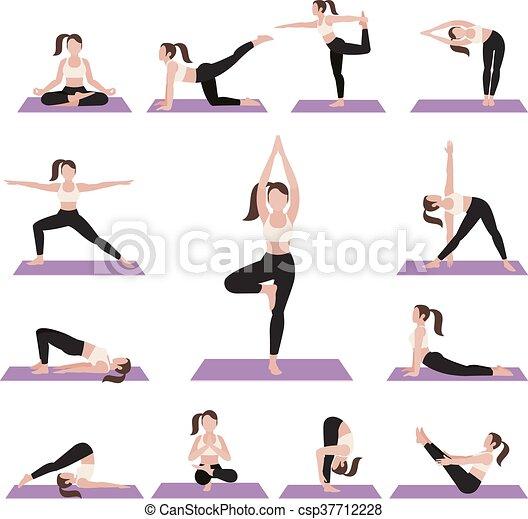 Yoga postures exercises set. vector illustration.