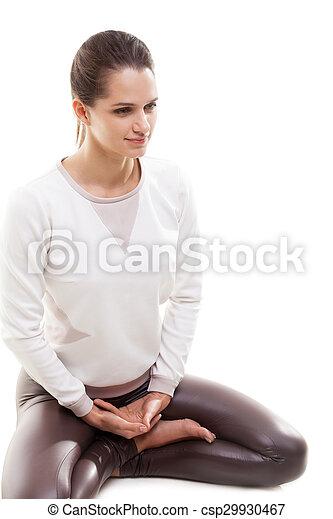 yoga practice lotus pose yoga girl on white background