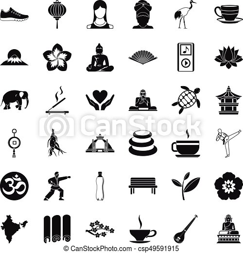 Yoga Relaxation Icons Set Simple Style Yoga Relaxation Icons Set Simple Style Of 36 Yoga Relaxation Vector Icons For Web