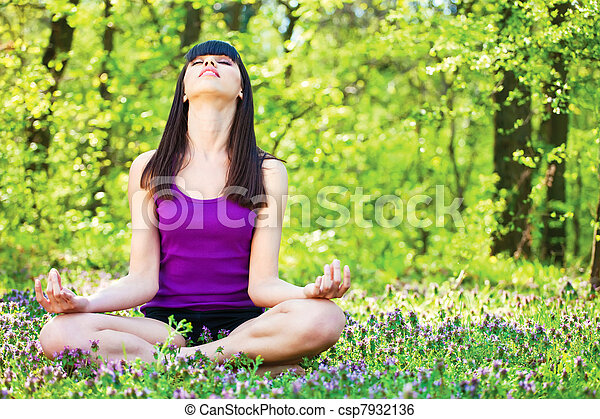 yoga relaxation in forest - csp7932136