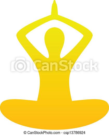 Yoga simple silhouette isolated on white ( orange ) - csp13786924